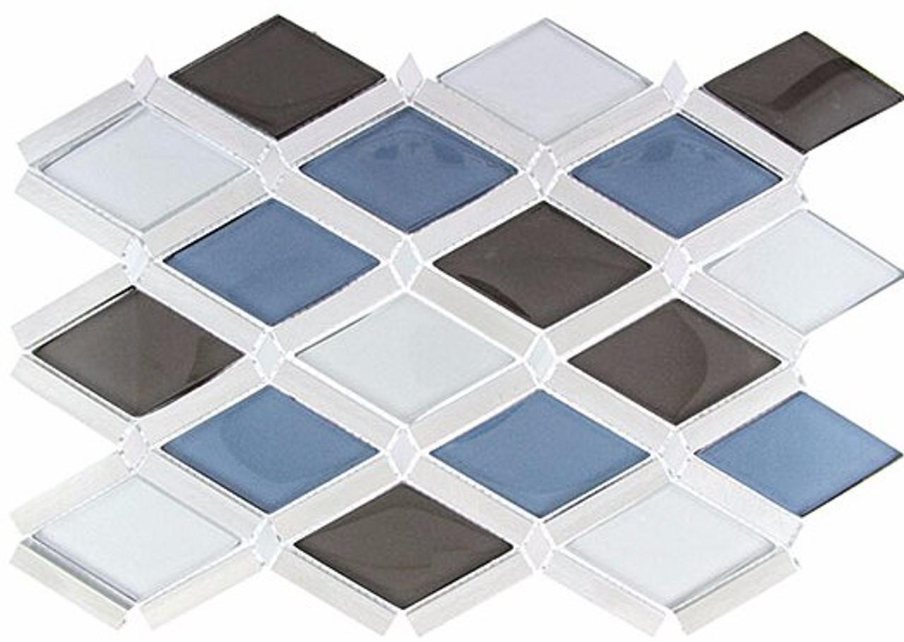 Bella Glass Tiles Falling Star Series Glass and Aluminum Cerulean Gaze
