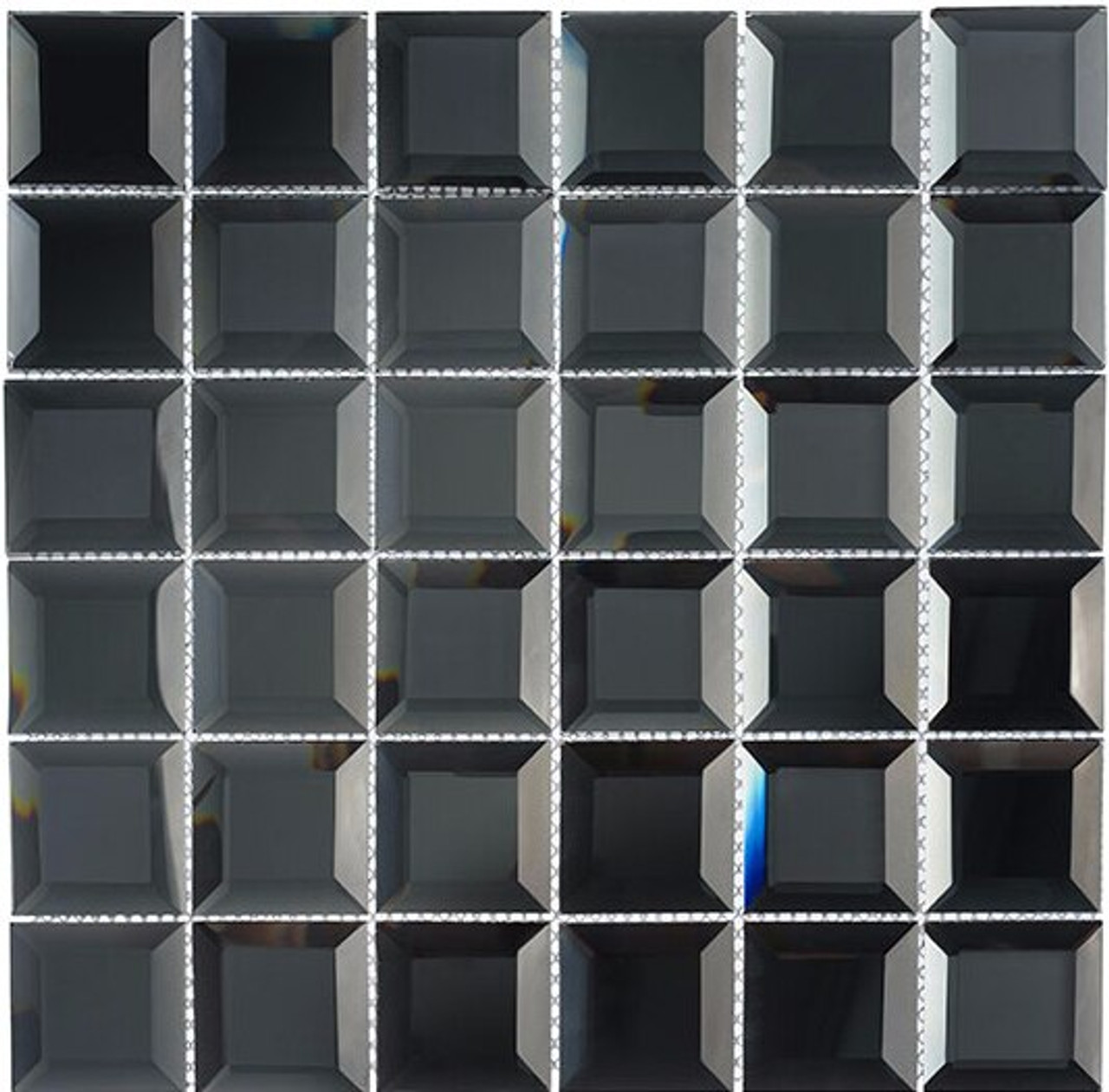 Bella Glass Tiles Checkers Hematite Squares