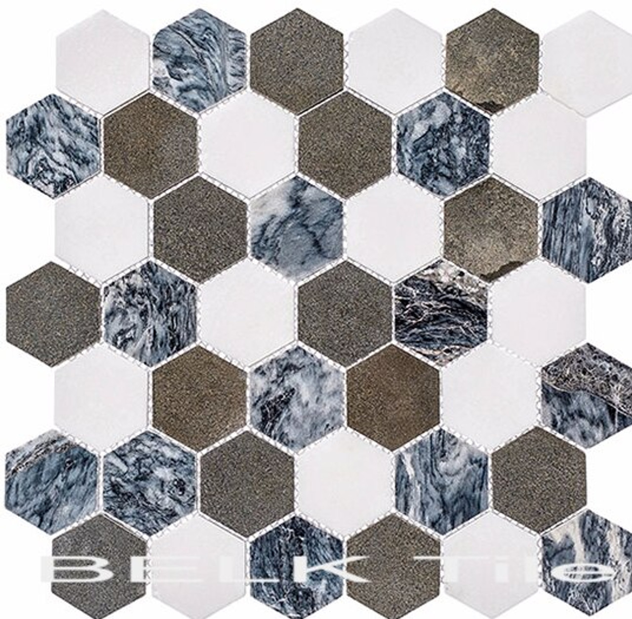 Bella Glass Tiles Colonial 2 Inch Hex Presidential Grey