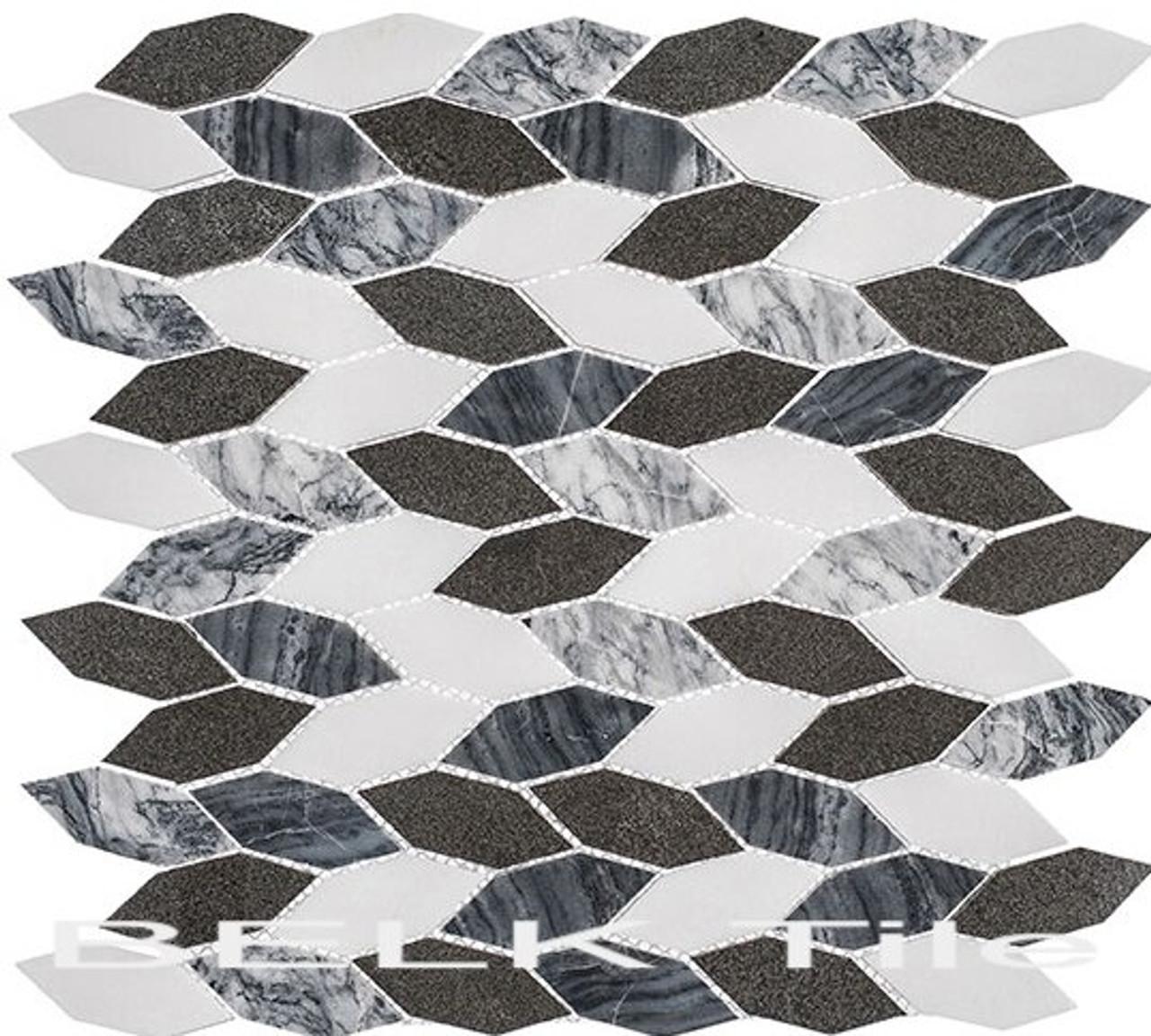 Bella Glass Tiles Colonial Series Long Hex Presidential Grey