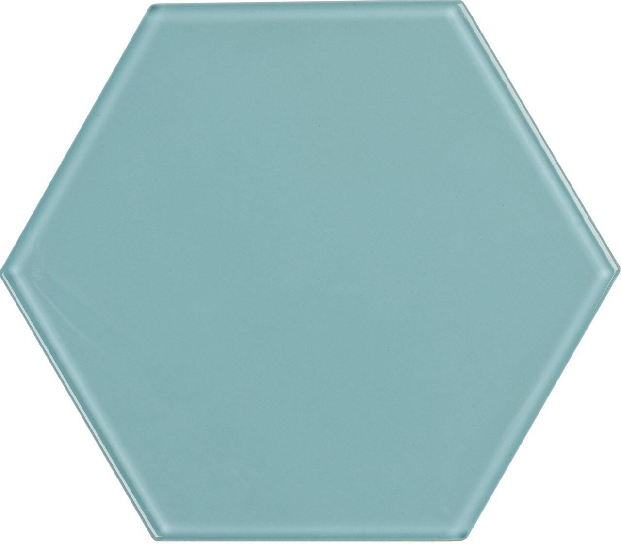 UBC 8 inch Glass Hexagon Tile Sky Blue