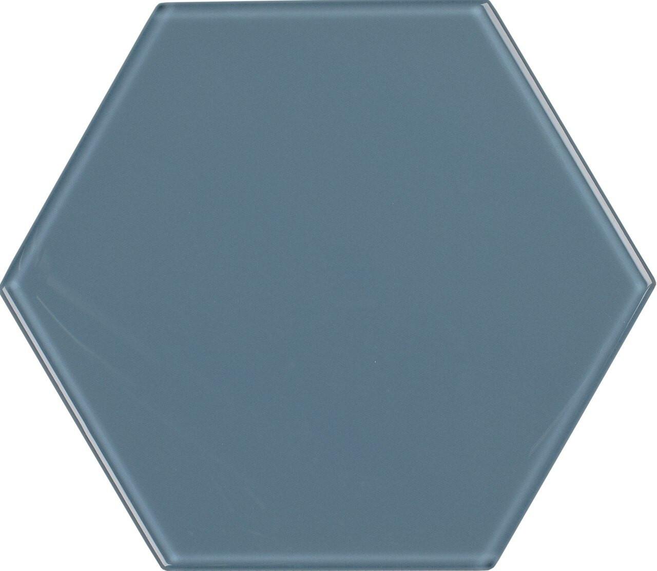 UBC 8 inch Glass Hexagon Tile Downpour