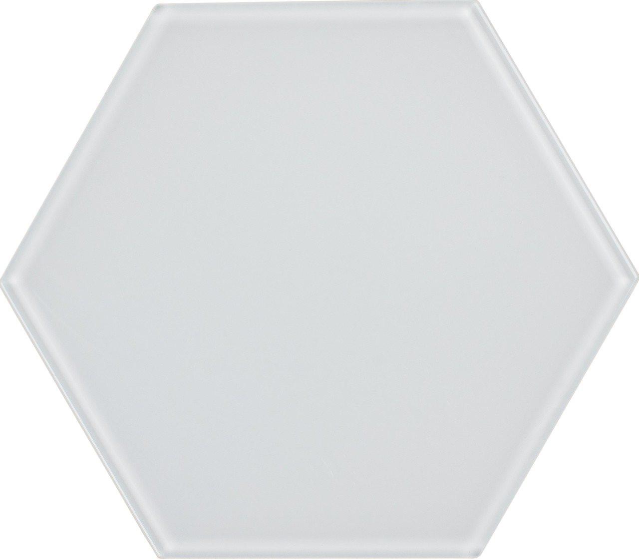UBC 8 inch Glass Hexagon Tile White