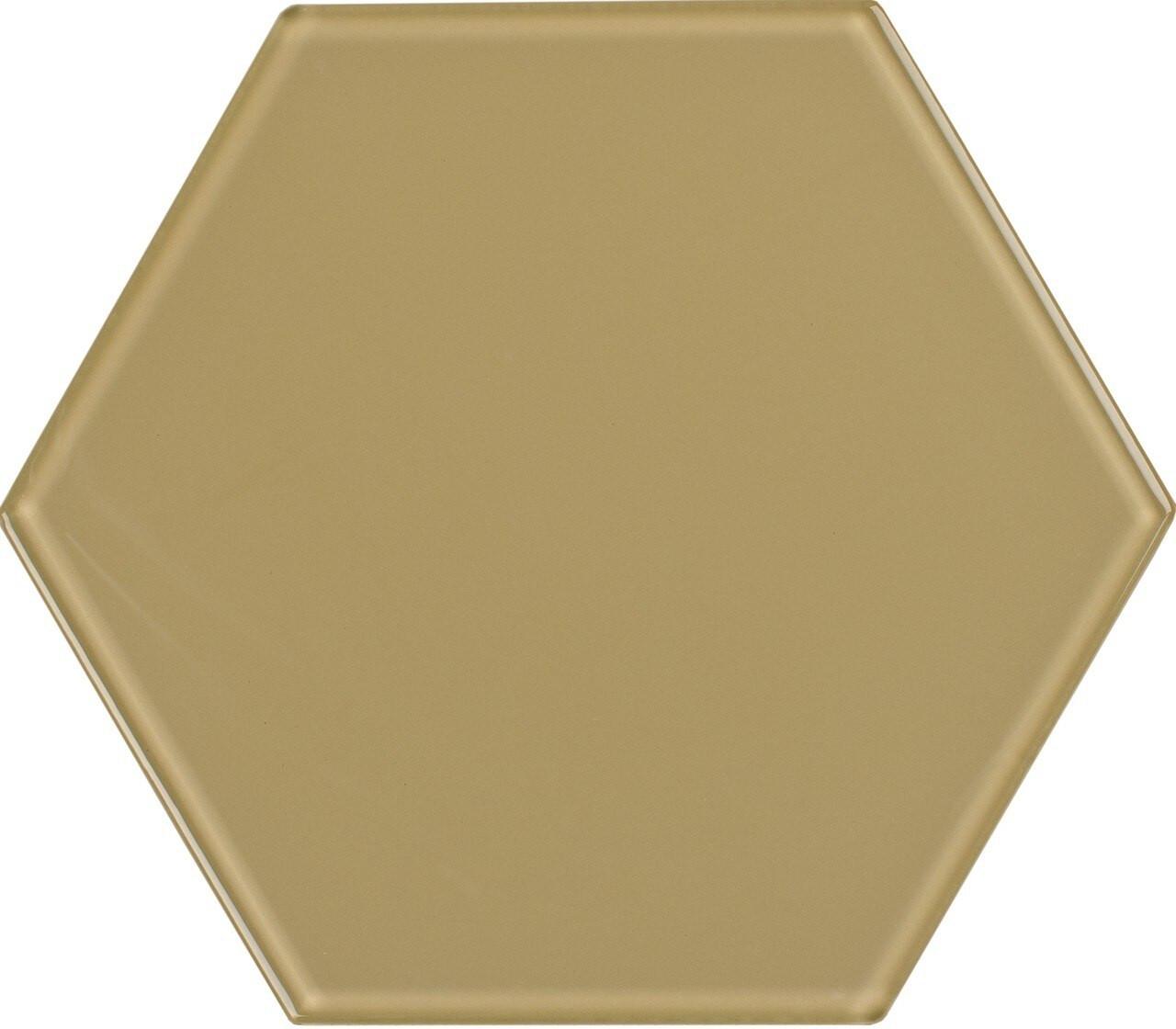 UBC 8 inch Glass Hexagon Tile Sand Dollar