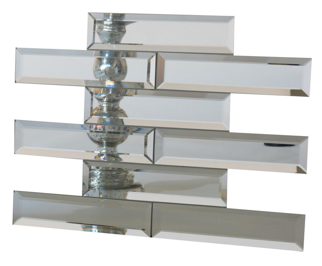 UBC Silver Finish Mirror Glass w/beveled edges 2 x 8