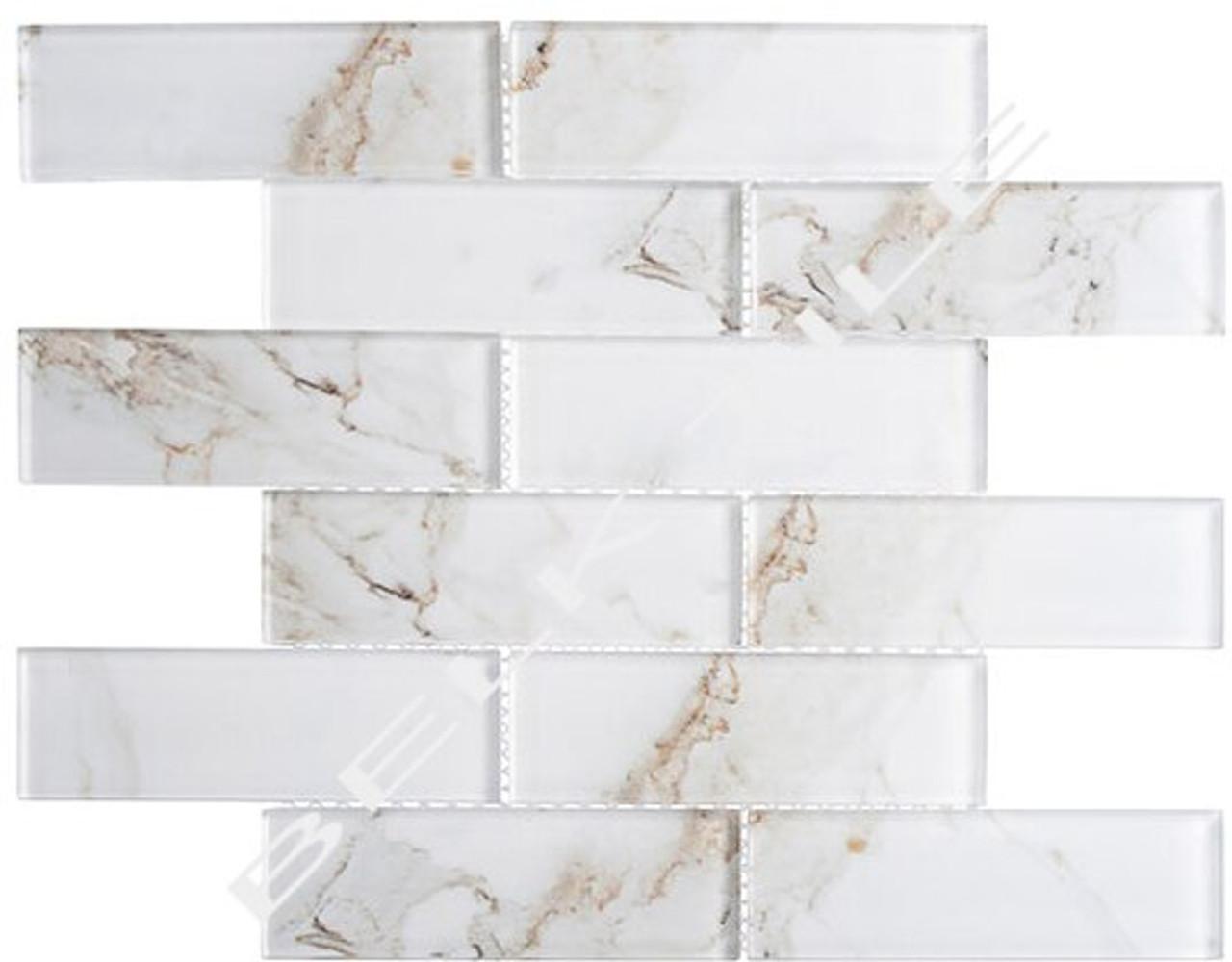 Bella Glass Tiles Michelangelo Basilica Lorenzo 2 x 6 Glass Subway Tile