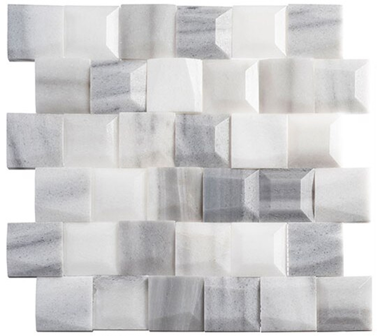Bella Glass Tiles Tilton Marble Mosaic TLT-5901 Quill Feather