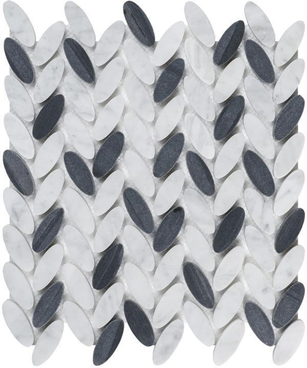 UBC Elyptic Herringbone Tile Black n White