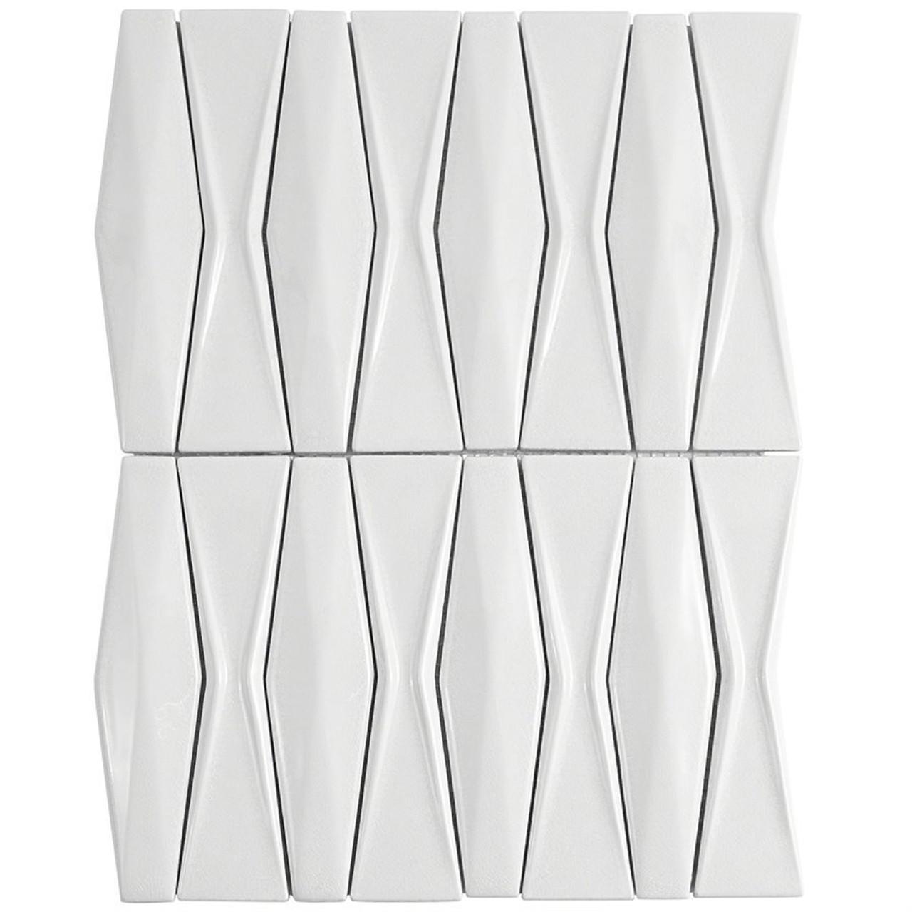 Soho Studio Baroque Adwick Blanco Ceramic Tile Mosaic