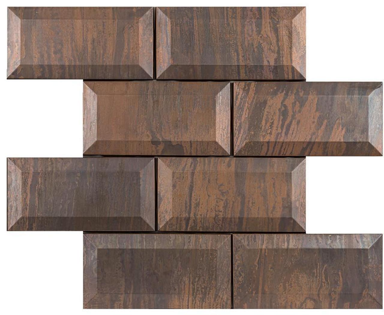 UBC Antique Copper Tile Backsplash 3 x 6 Bevel Mosaic