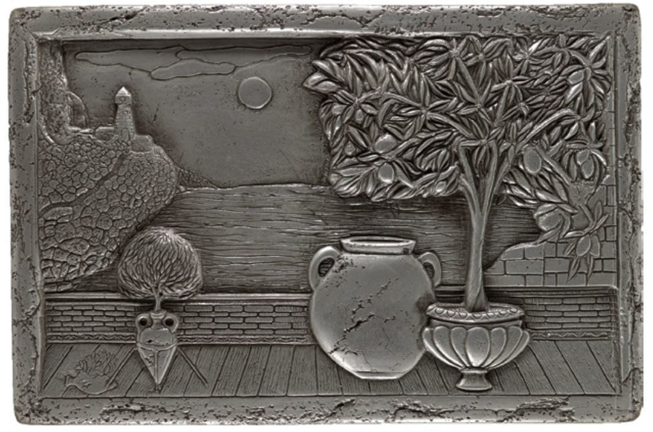 My Tile Backsplash Silver Italian Scene Plaque