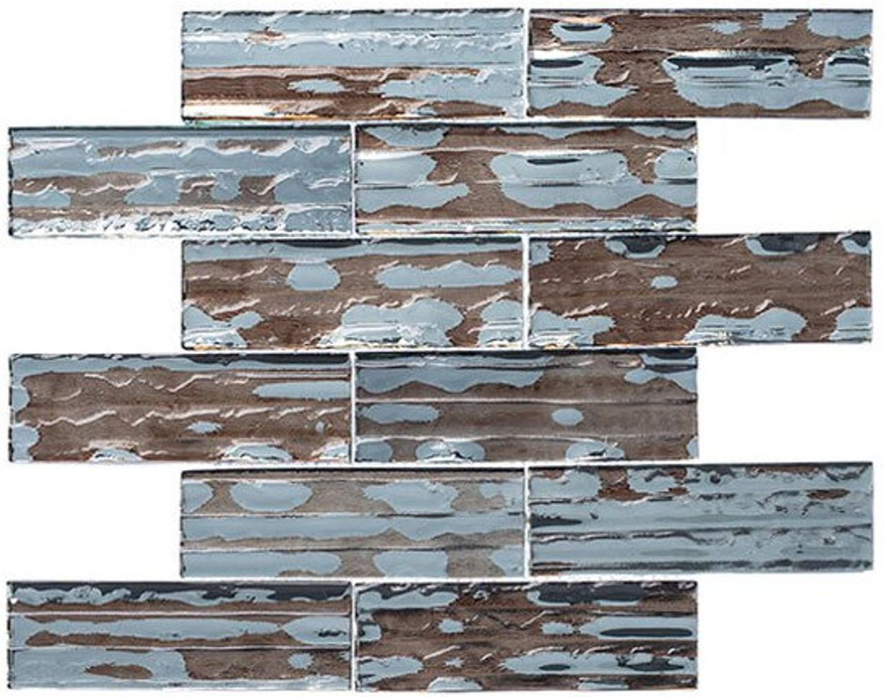 Bella Glass Tiles Droplettes Series Mirror Tile DRP983 Camo Rain