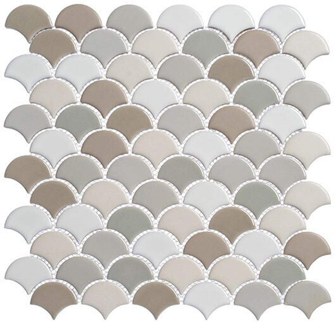 Bella Glass Tiles Scallop Lace Series SCL595 Lavish Cremes