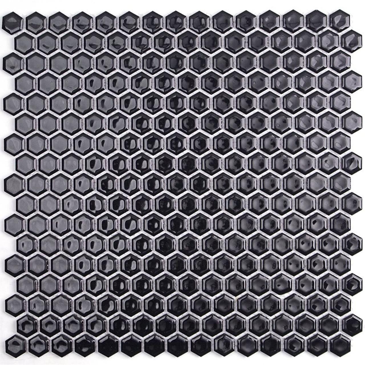 Soho Studio Simple Hexagon Solid Black Polished