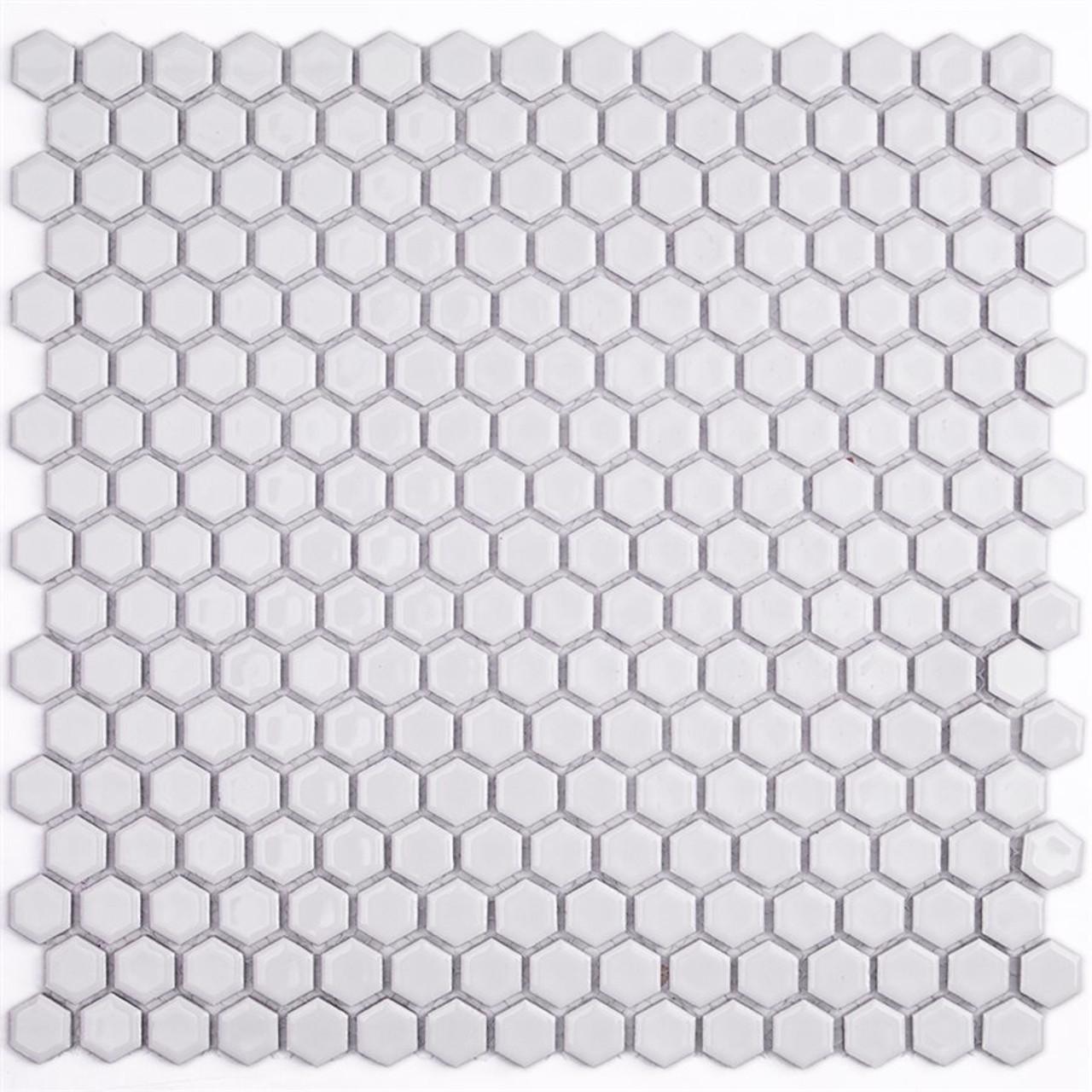 Soho Studio Simple Hexagon Solid White Polished