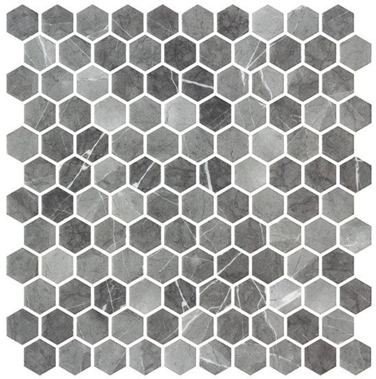 Bella Glass Tiles Karma Ridge Hexagon Mosaic Ashley Rock KR1401