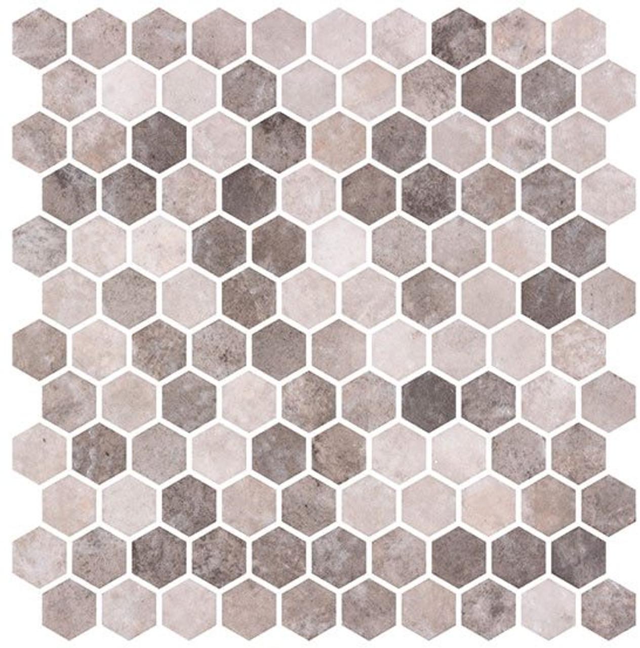 Bella Glass Tiles Karma Ridge Hexagon Mosaic Soothing Intent KR1403