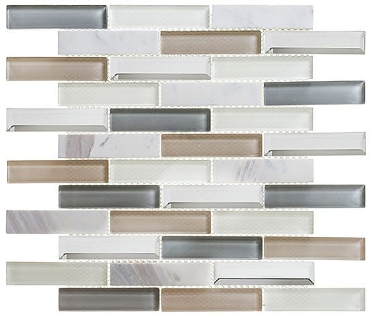 Bella Glass Tiles Beveled Castle Series BCA654 Newport Blue
