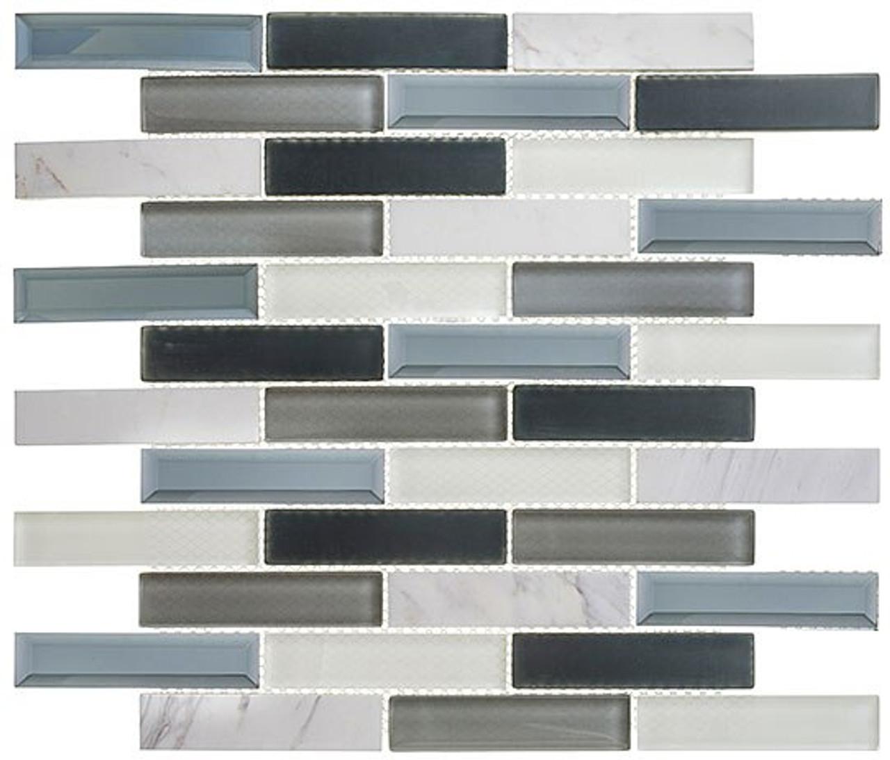 Bella Glass Tiles Beveled Castle Series BCA655 Azure Gardens