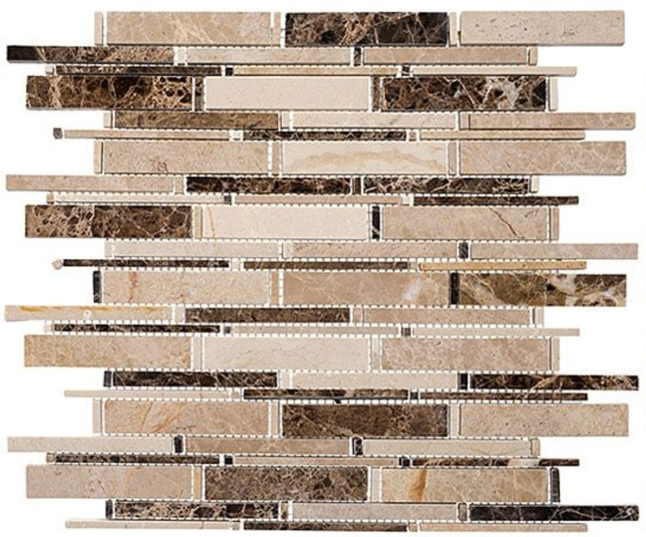 Bella Glass Tiles Cascade Series Emperador darkCrema marfil CS91