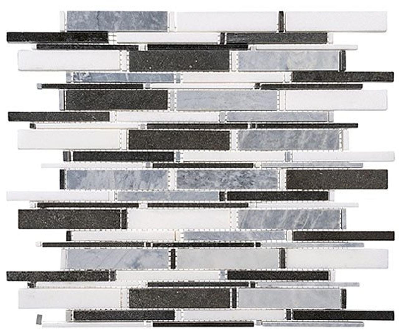 Bella Glass Tiles Cascade Series MugworthThassos WhiteBasalt mix CS93