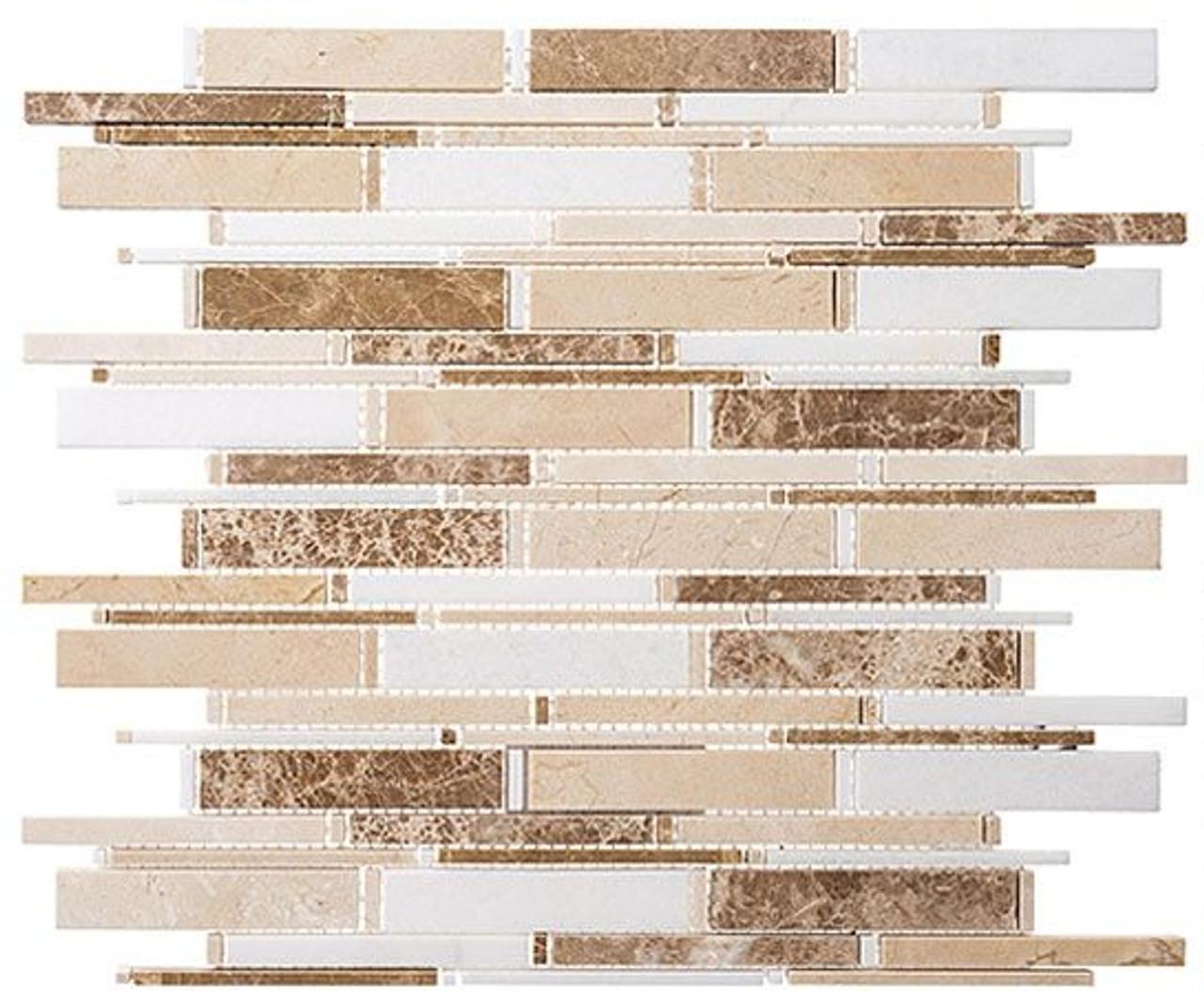 Bella Glass Tiles Cascade Series Crema marfil Thassos white Emperador lig CS96