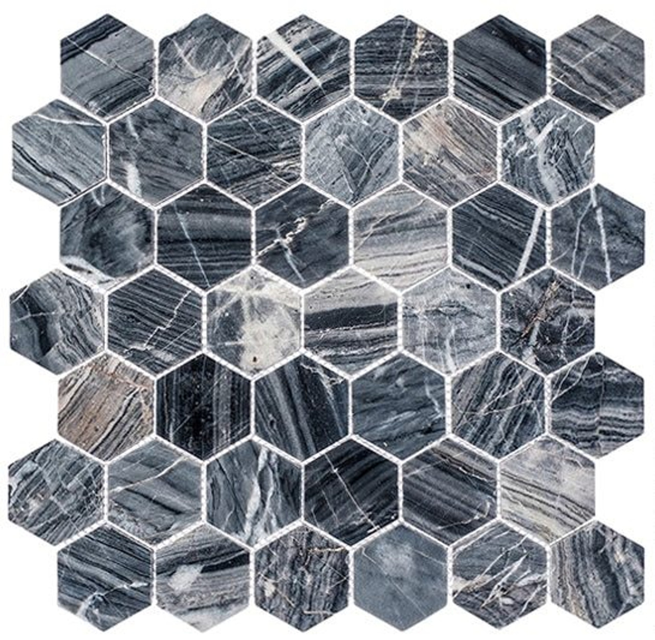 Bella Glass Tiles Colonial 2 Inch Hex Salem Charcoal CLNL277