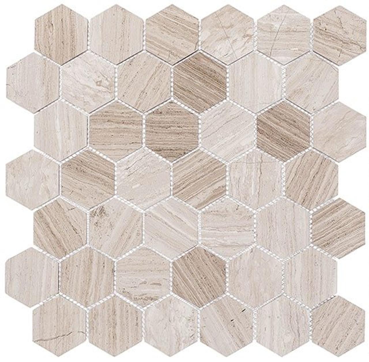 Bella Glass Tiles Colonial 2 Inch Hex Virginia Dunes CLNL278