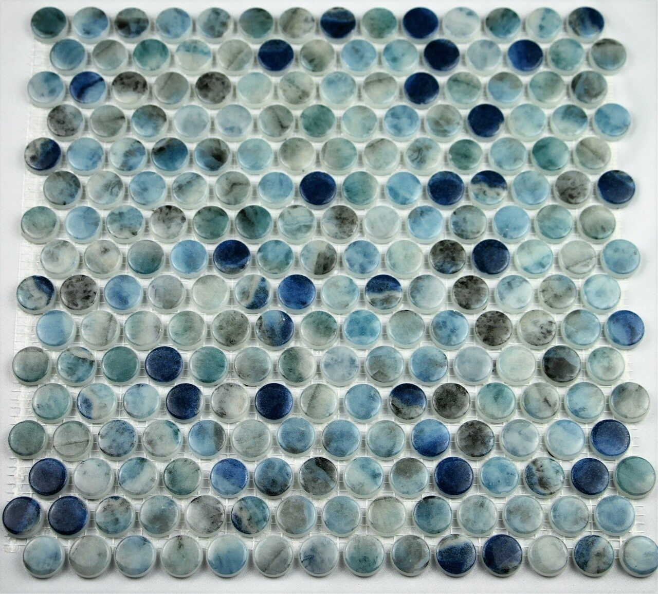 Bella Glass Tiles Hearth Palace Penny Round Kara Blue HP1PRKB