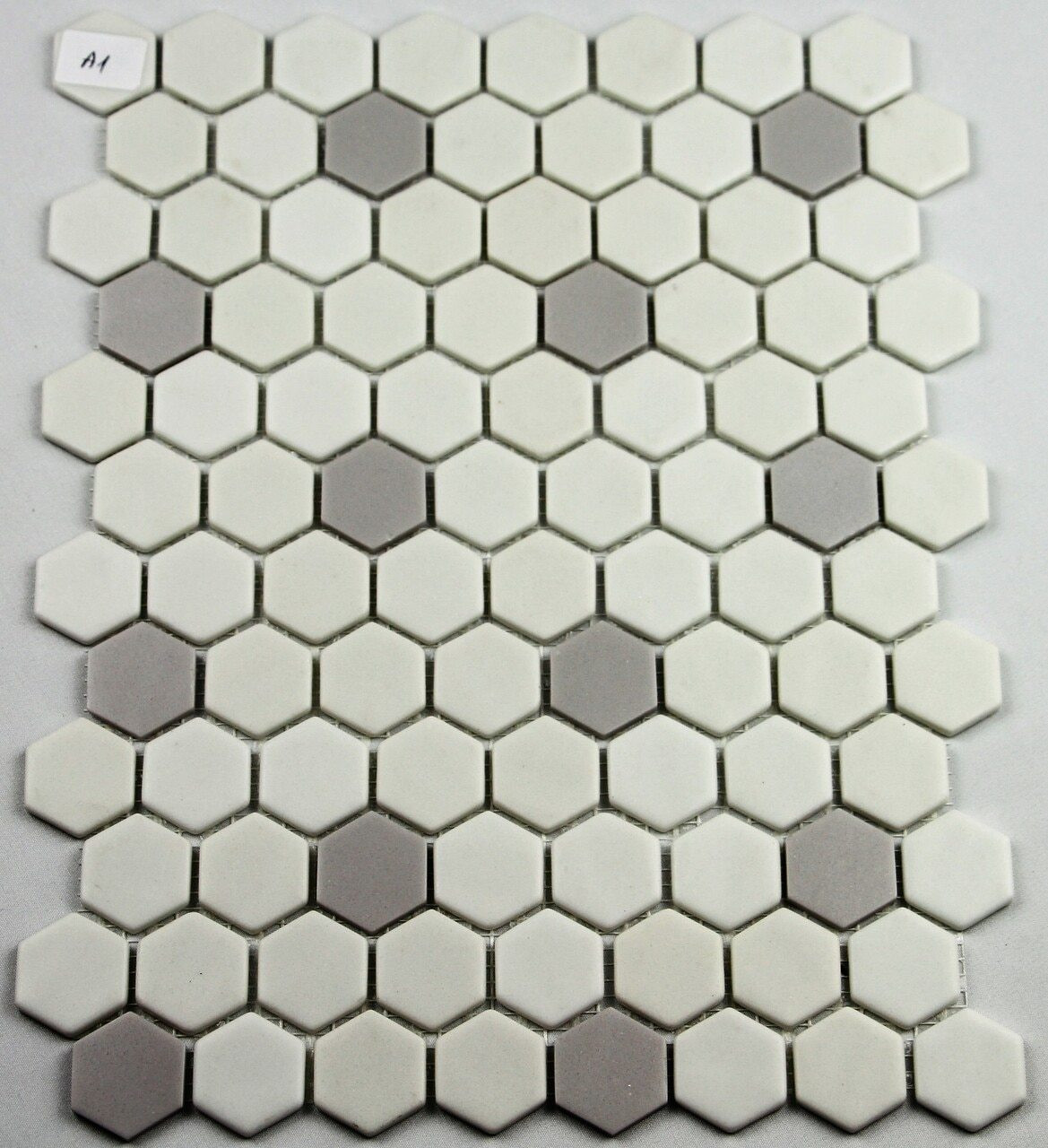 Bella Glass Tiles Hearth Palace Hexagon Light Gray and White HP1HBP3