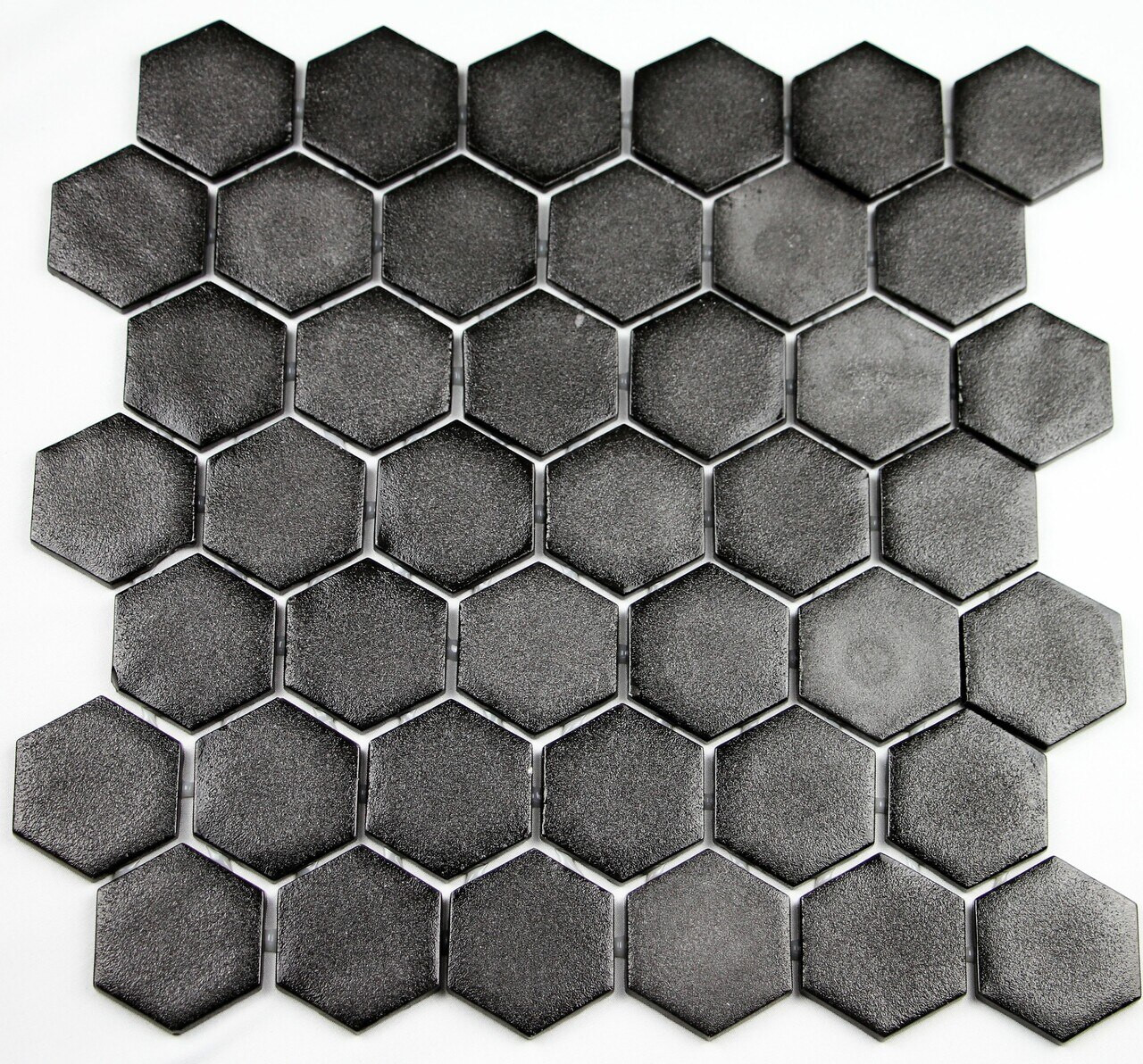 Bella Glass Tiles Hearth Palace Hexagon Stone Glass Black HP2HSGB