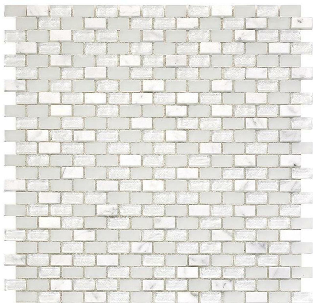 My Tile Backsplash Bello Series Ice Mini Brick Mosaic MTB102