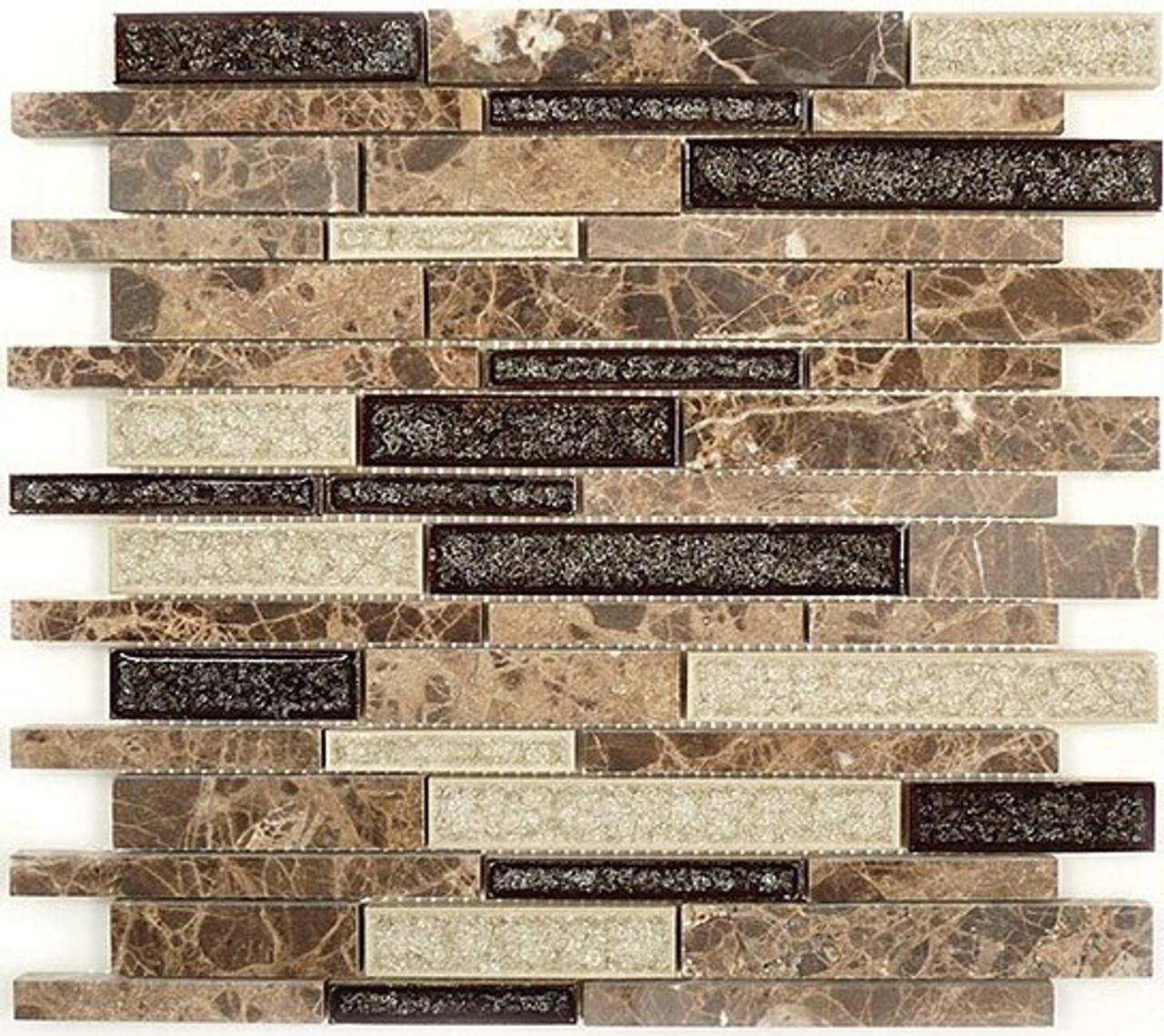 Bella Glass Tiles Tranquil Random Brick Series Mocha Canyon