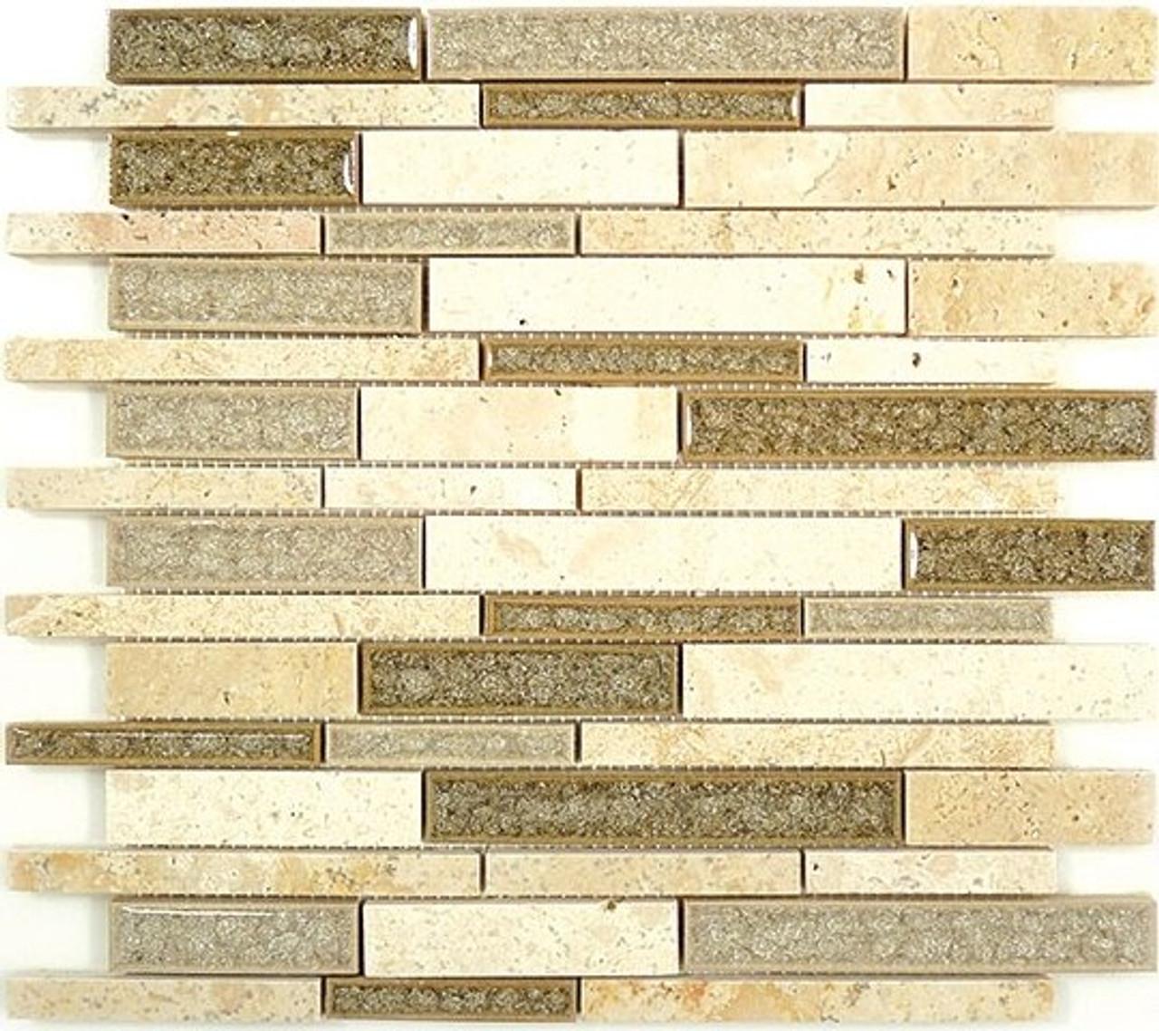 Bella Glass Tiles Tranquil Random Brick Series Sage Brush