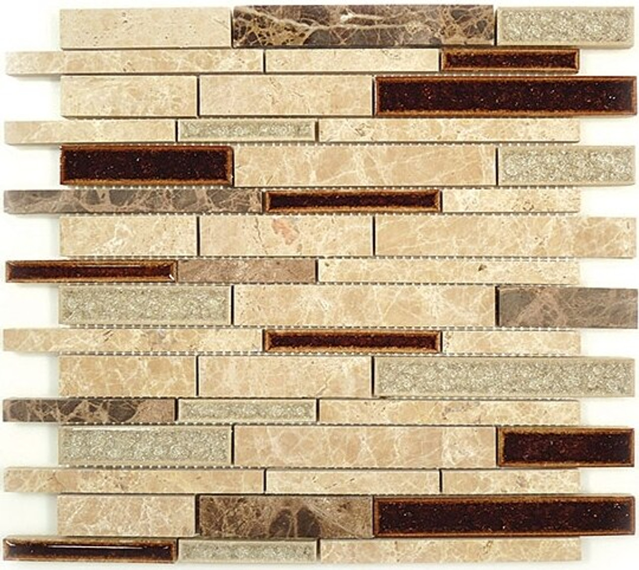 Bella Glass Tiles Tranquil Random Brick Series El Dorado