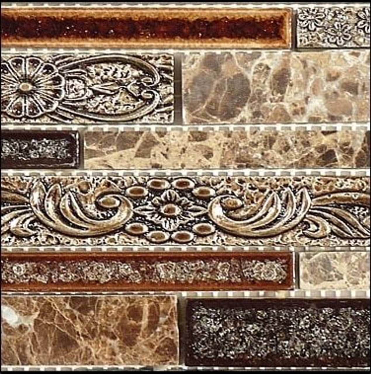 Bella Glass Tiles Tranquil Random Brick Series Scottsdale Brass