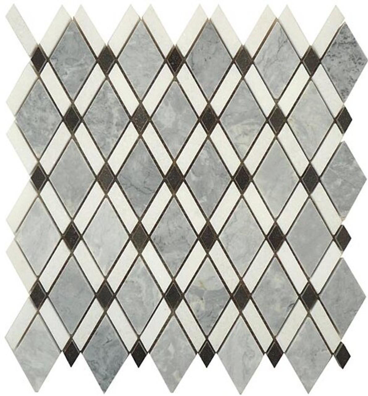 Bella Glass Tiles Diamond Series Mugworth or Thassos White or Basalt