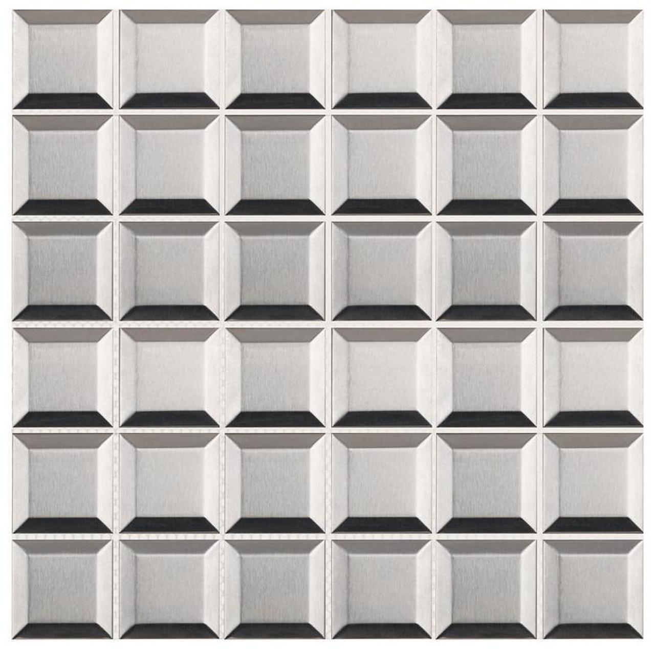 UBC Stainless Steel Tile Backsplash 2 x 2 Beveled Mosaic
