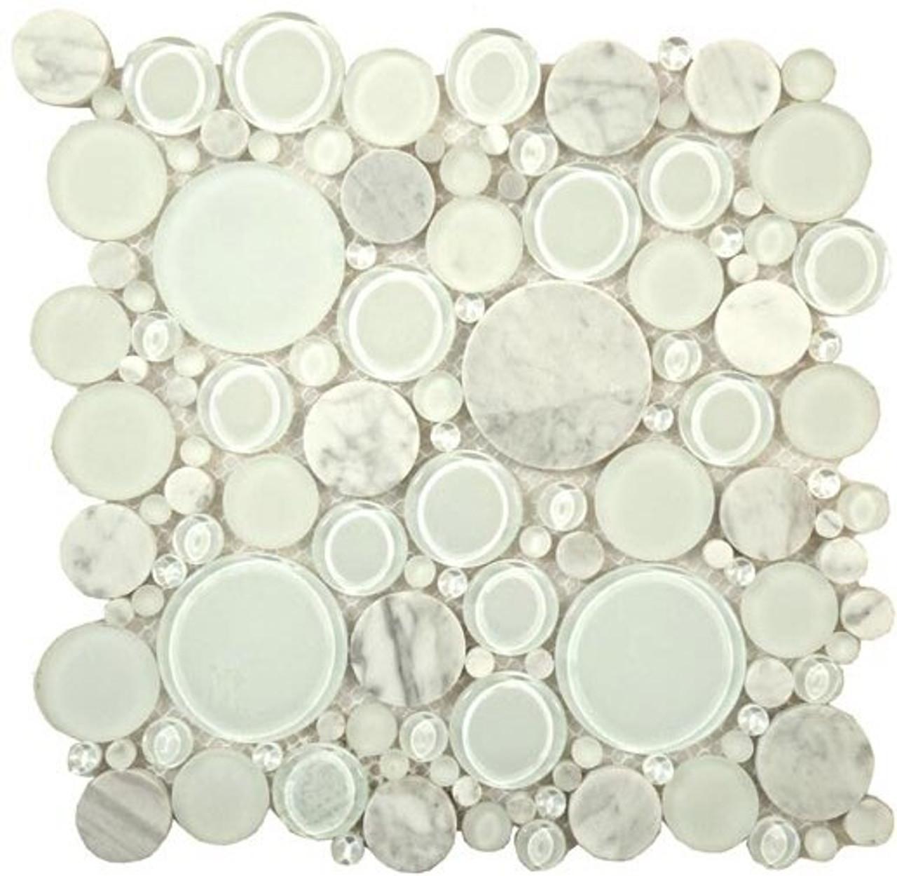 Bella Glass Tiles Bubble Series Random Circles White Dove