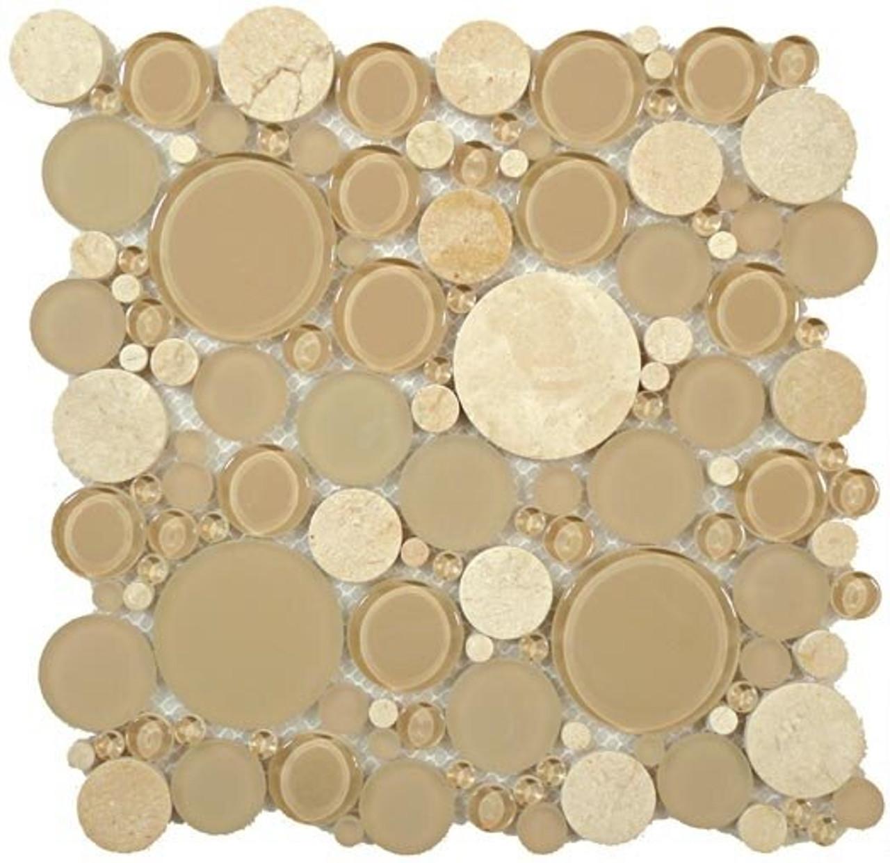Bella Glass Tiles Bubble Series Random Circles Sable Brown