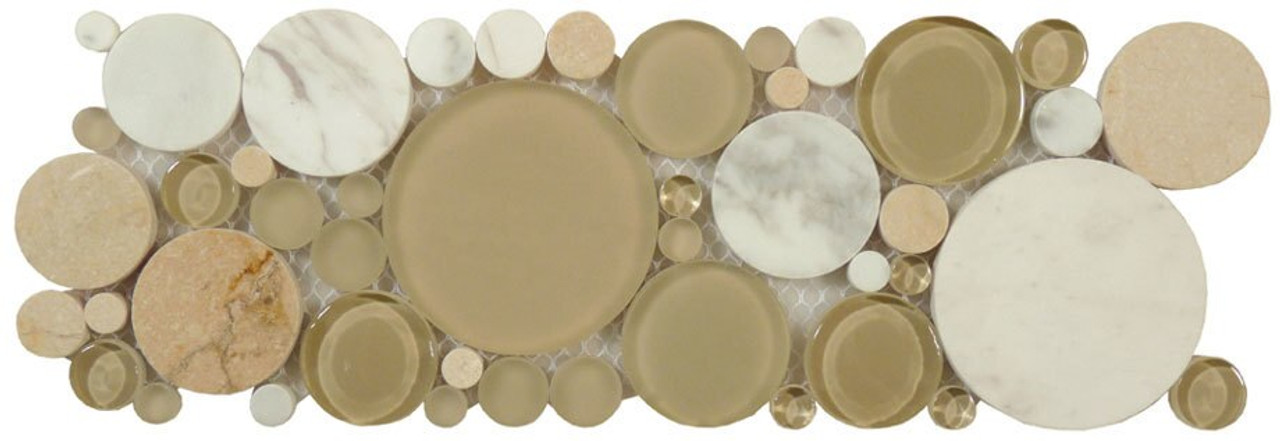 Bella Glass Tiles Bubble Series Random Circles Olivine Listello