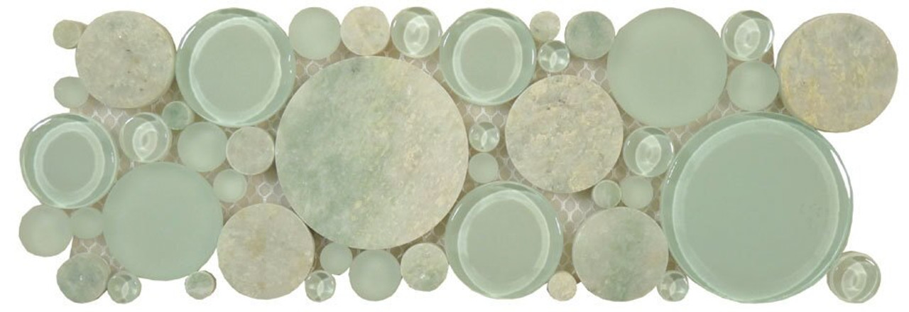 Bella Glass Tiles Bubble Series Random Circles Moonstone Listello