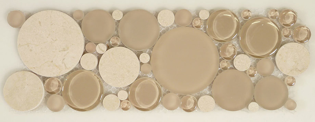 Bella Glass Tiles Bubble Series Random Circles Sable Brown Listello