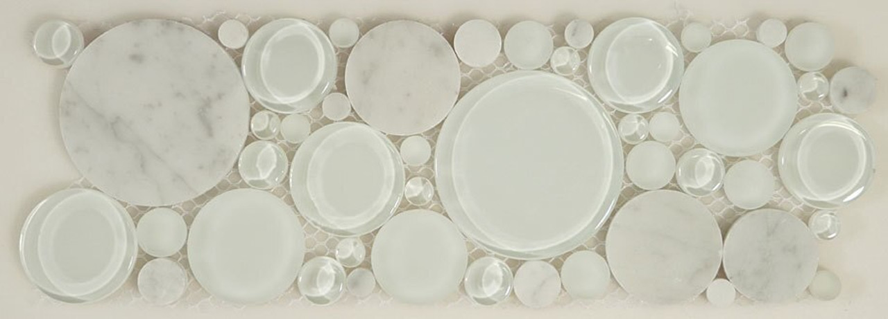 Bella Glass Tiles Bubble Series Random Circles White Dove Listello