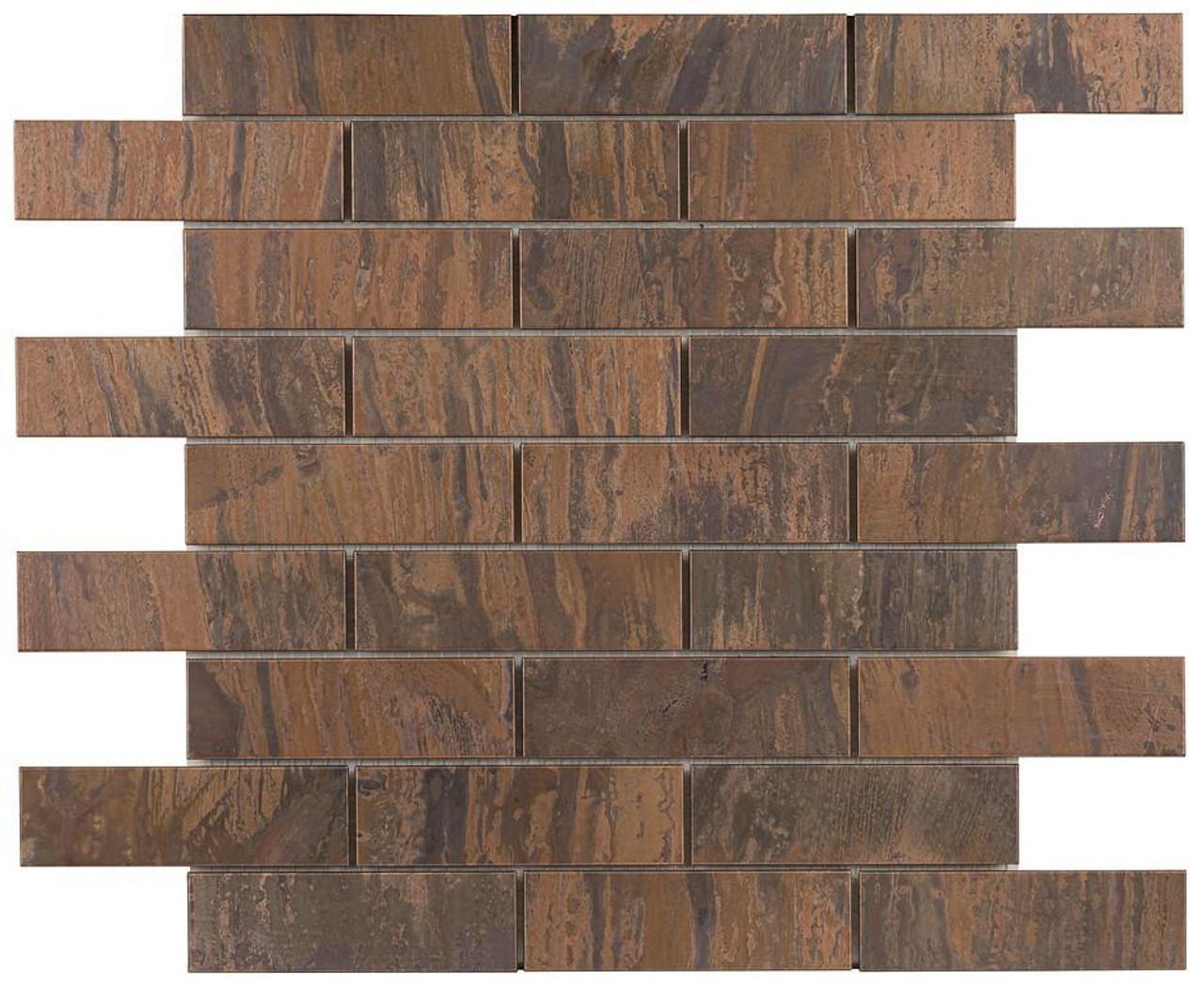 UBC Antique Copper Tile Backsplash 1 x 4 Mosaic