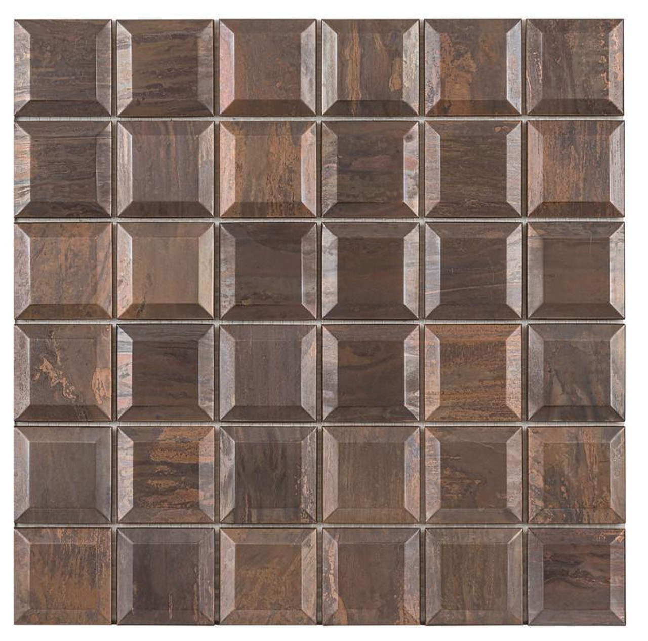 UBC Antique Copper Tile Backsplash 2 x 2 Beveled Mosaic