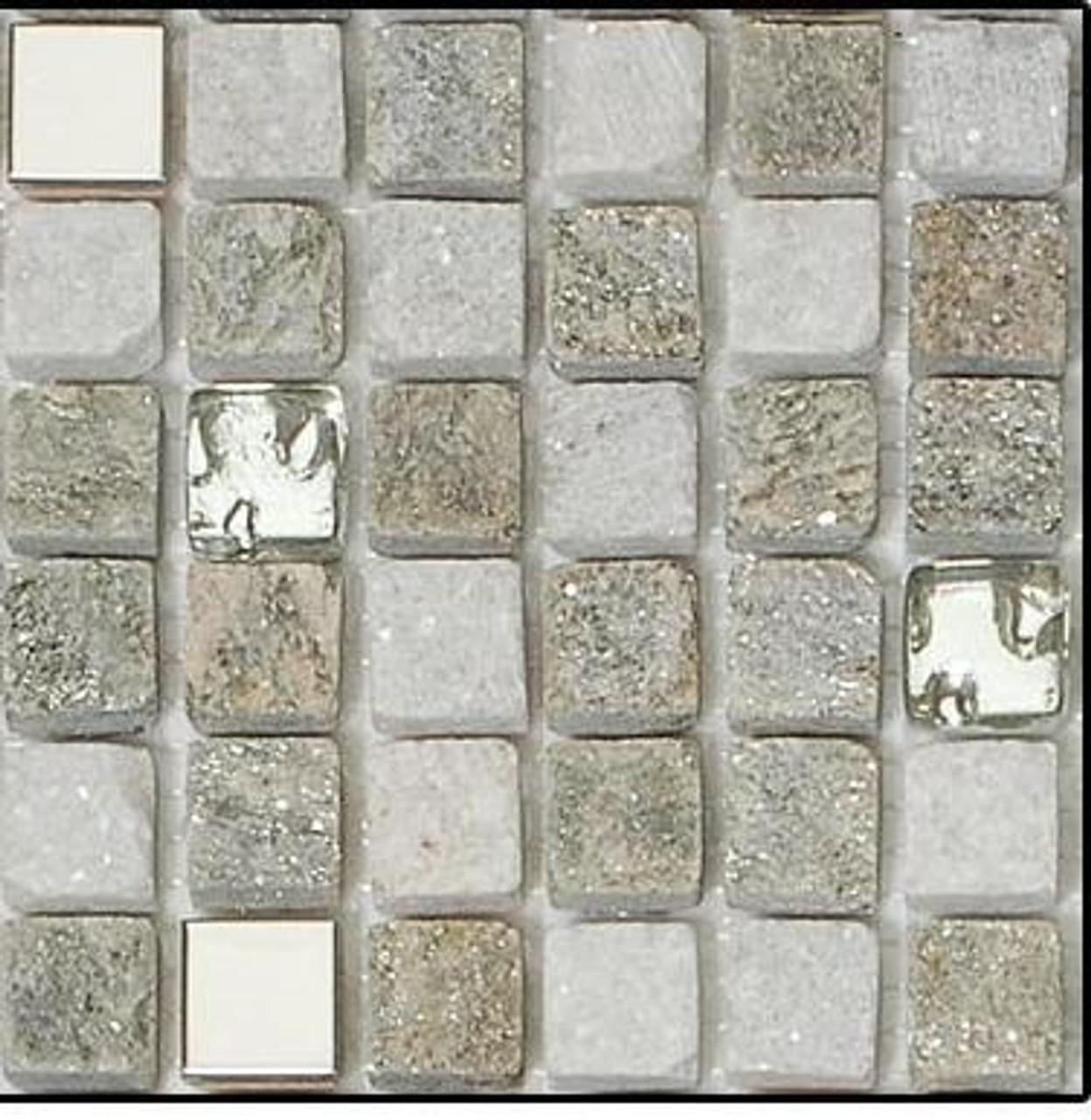 Bella Glass Tiles Opulence 5/8 x 5/8 Mosaic Series Flint Smoke