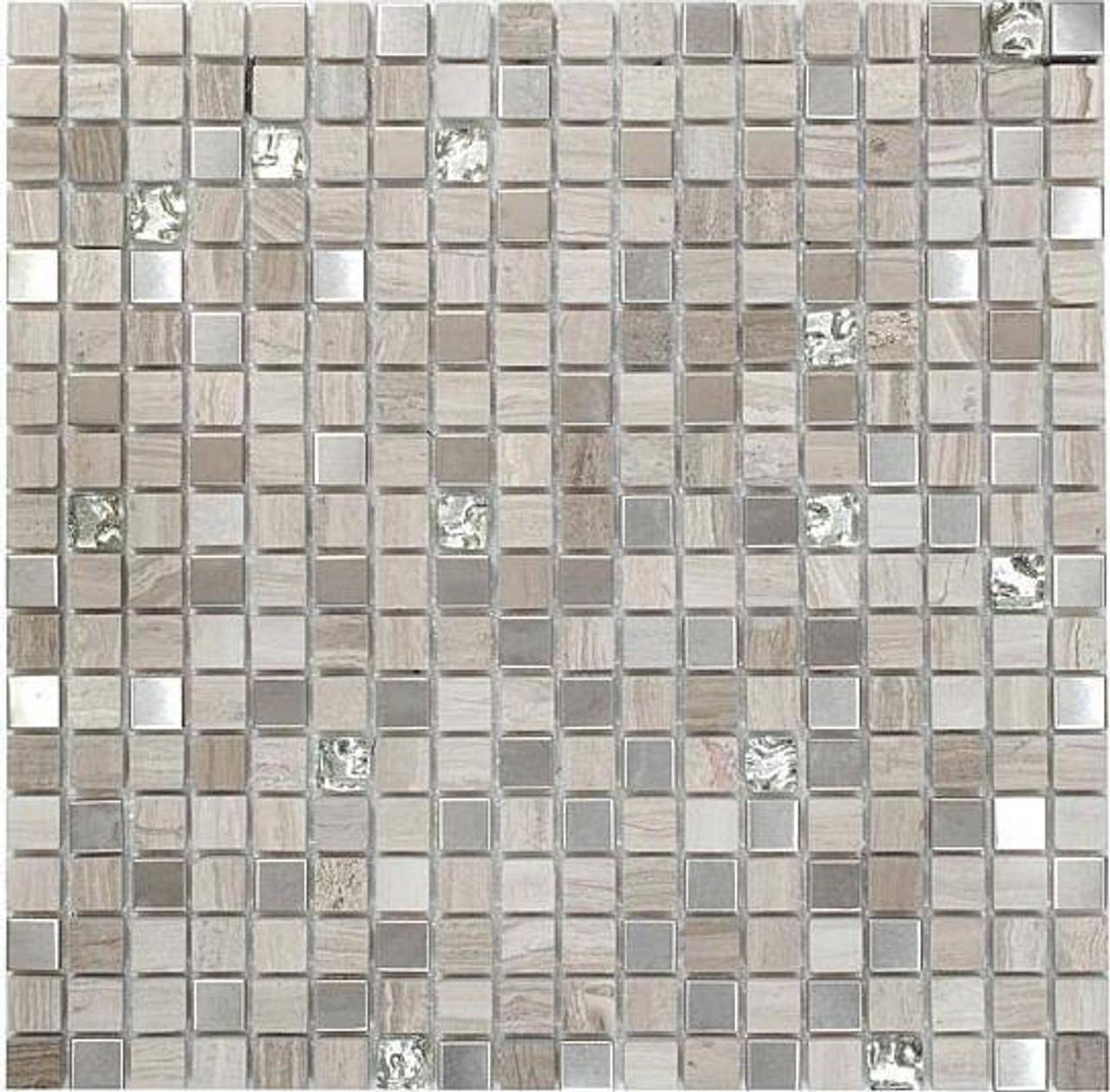 Bella Glass Tiles Opulence 5/8 x 5/8 Mosaic Series White Sand