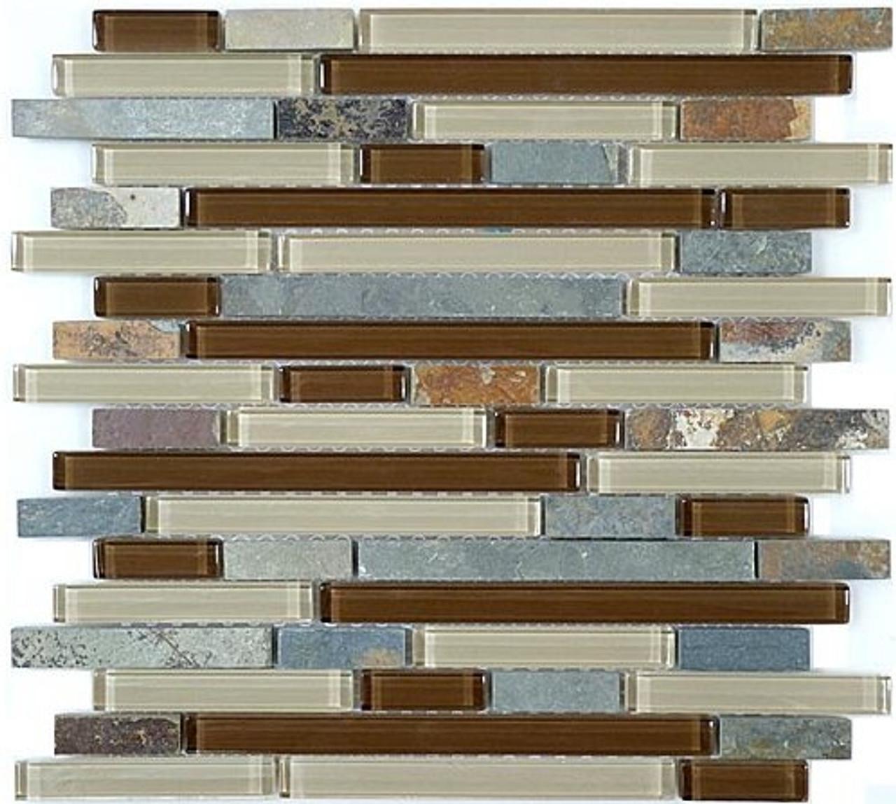Bella Glass Tiles Glass and Slate Series Winter Scape Random Brick
