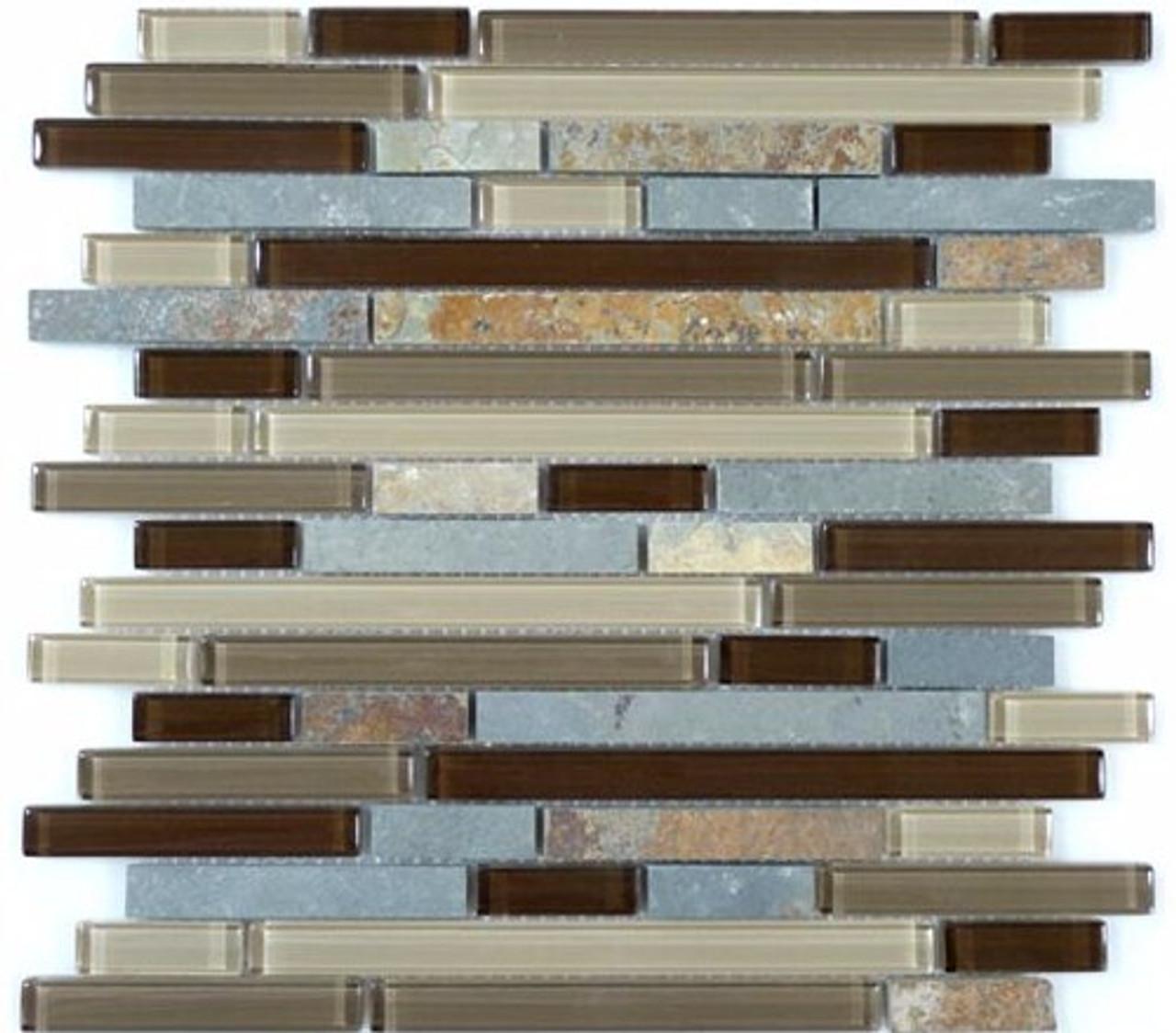 Bella Glass Tiles Glass and Slate Series Titanium Filed Random Brick